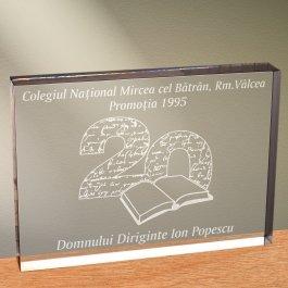 Cadou personalizat trofeu plexiglas dreptunghiular - Dupa 20 de ani