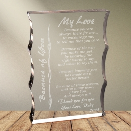 Cadou personalizat trofeu plexiglas dreptunghiular tesitura ondulata - Because of you